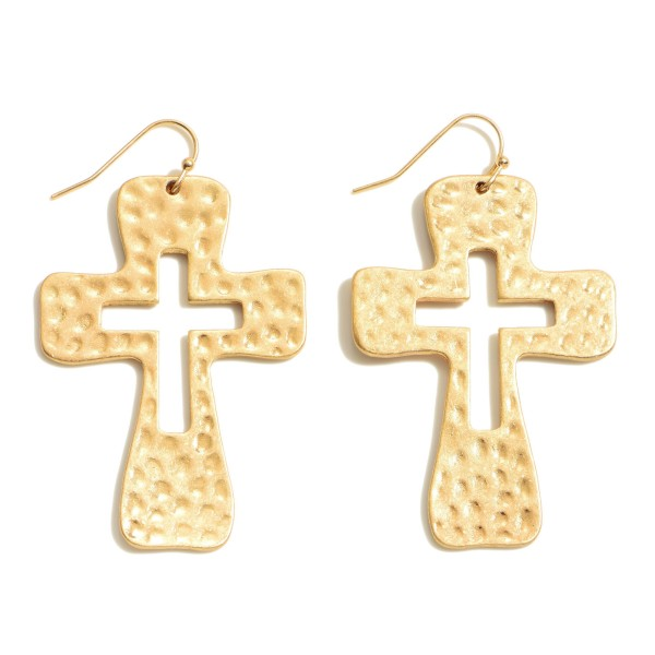 """Hammered Cross Drop Earrings.  - Approximately 2.25"""" in Length"""