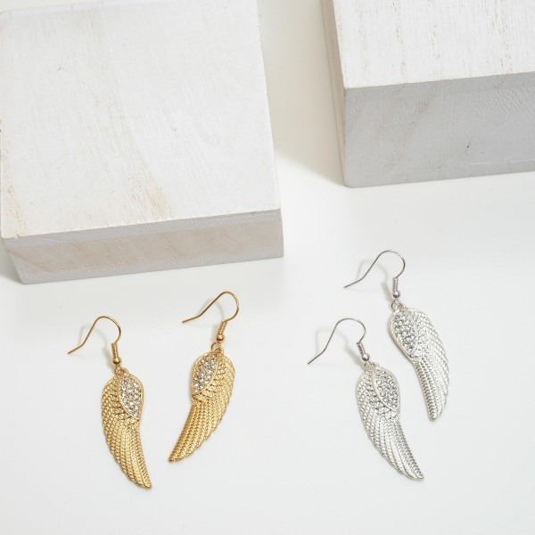 """Metal Pave Wing Drop Earrings.  - Approximately 1.75"""" in Length"""