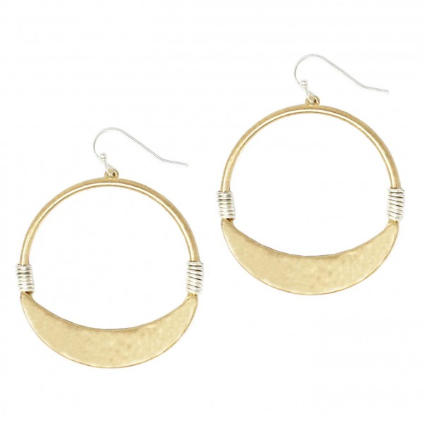 """Circular Drop Earrings Featuring Two-Tone Wire Accents and Hammered Details.   - Approximately 2"""" Long"""