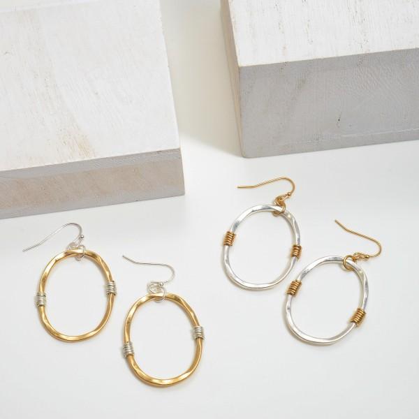 "Two Tone Metal Drop Earrings.  - Approximately 2"" in Length"