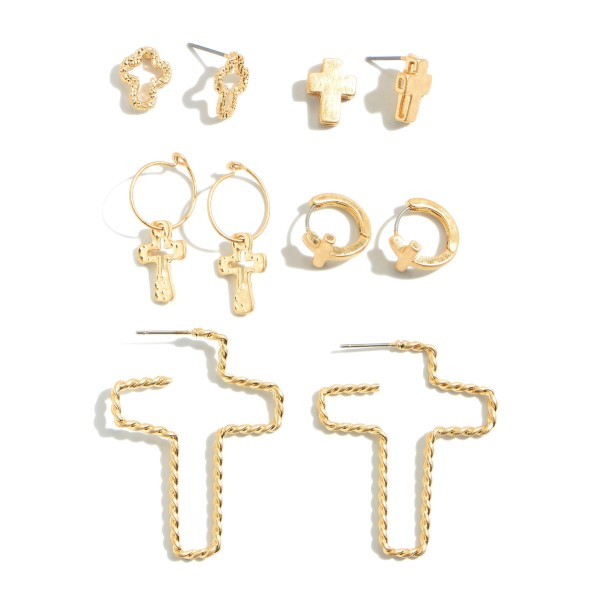 """5 PC Cross Stud/Hoop Earring Set in a Worn Finish.  - 5 Pair Per Set - Approximately .5"""" - 1.5"""" in Size"""