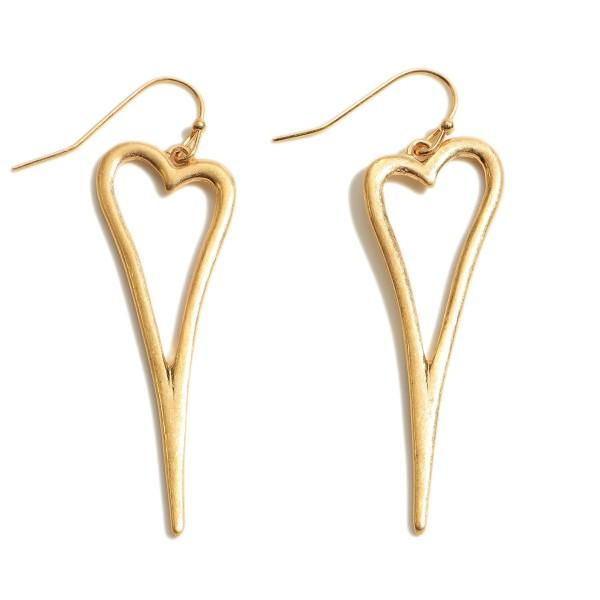 "Skinny Heart Drop Earrings in a Worn Finish.  - Approximately 2"" in Length"
