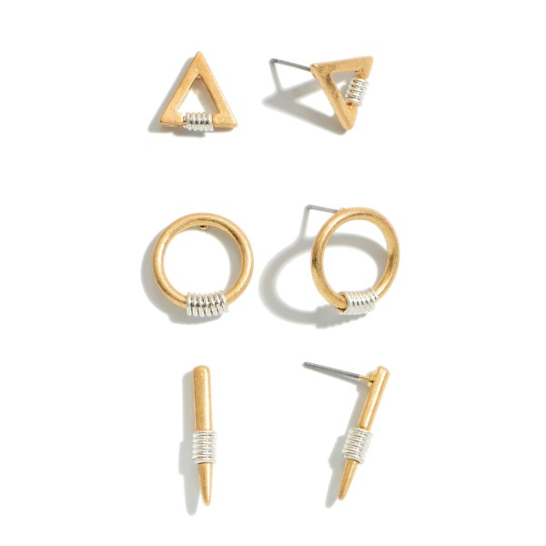 """3 PC Two Tone Geometric Stud Earring Set.  - 3 Pair Per Set - Approximately .5"""" - 1"""" in Size"""