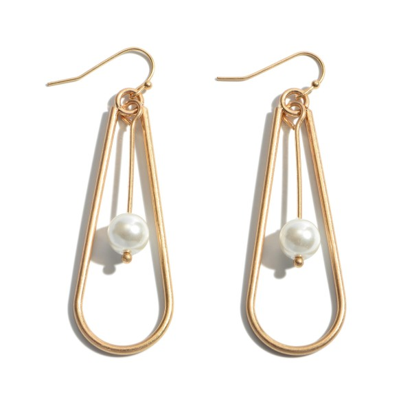 "Pearl Nested Teardrop Earrings.  - Approximately 2.25"" in Length"