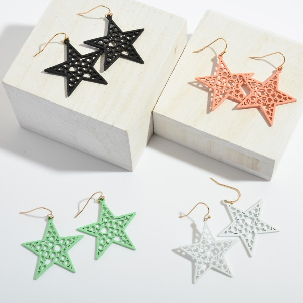 "Color Coated Filigree Star Drop Earrings.  - Approximately 2"" in Length"