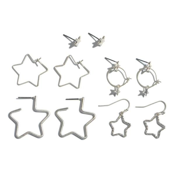 "6 PC Metal Star Decor Earring Set.  - 6 PC Per Set - 2 Stud Pair; 1 Drop Pair; 3 Hoop Pair - Approximately 5mm - 1"" in Size"