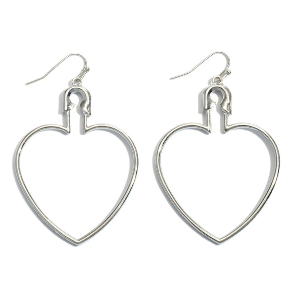 "Safety Pin Heart Drop Earrings.  - Approximately 2.5"" in Length"