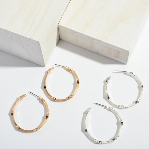 """Rhinestone Textured Hoop Earrings.  - Approximately 1.5"""" in Diameter"""