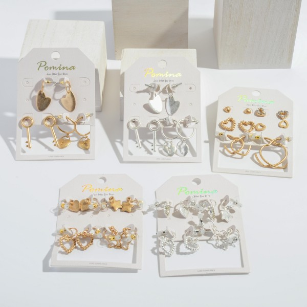 6 PC Heart Earring Set.  - 6 PC Per Set - 4 Stud Pair; 2 Hoop Pair - Approximately 4mm - 1.5'