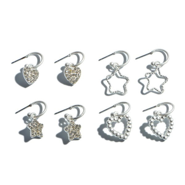 "4 PC Pave Heart & Star Huggie Hoop Earring Set in a Worn Finish.  - 4 Pair Per Set - Approximately .75"" in Length"