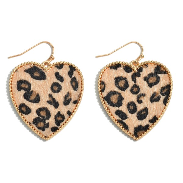 "Leopard Print Heart Drop Earrings with Metal Trim.  - Approximately 2"" in Length"