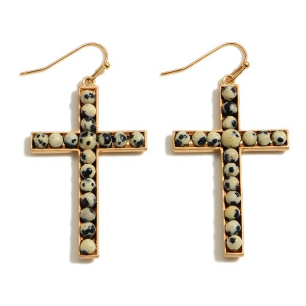 """Semi Precious Beaded Cross Drop Earrings.  - Approximately 2"""" in Length"""