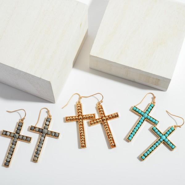 "Metal Beaded Cross Drop Earrings.  - Approximately 2"" in Length"