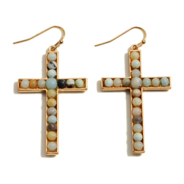 "Semi Precious Beaded Cross Drop Earrings.  - Approximately 2"" in Length"