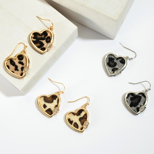 "Leopard Print Carabiner Heart Drop Earrings.  - Approximately 1"" in Length"