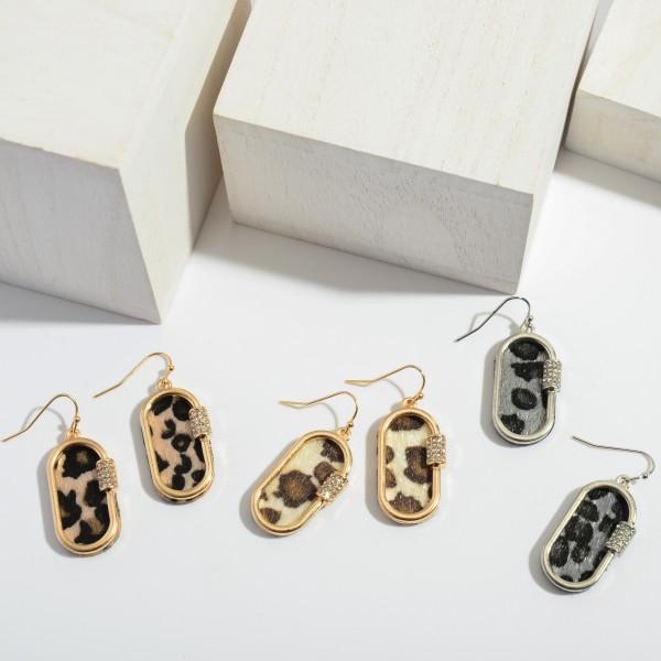 "Leopard Print Carabiner Drop Earrings.  - Approximately 1.25"" in Length"