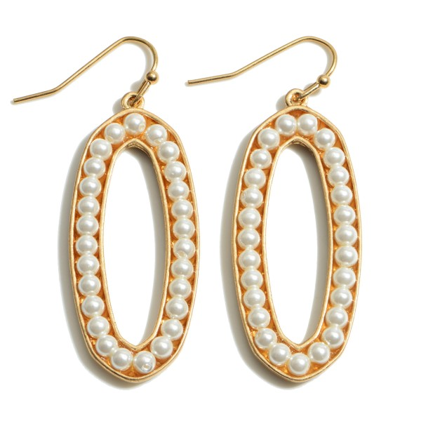 """Ivory Pearl Beaded Oval Drop Earrings.  - Approximately 2"""" in Length"""