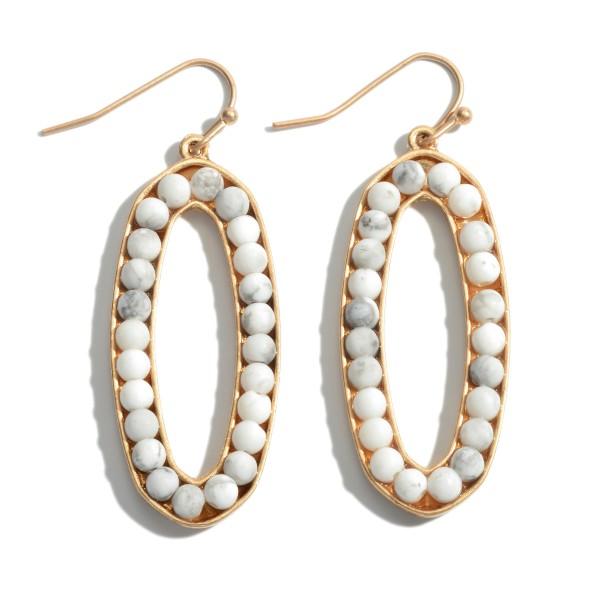 Wholesale semi Precious Beaded Oval Drop Earrings