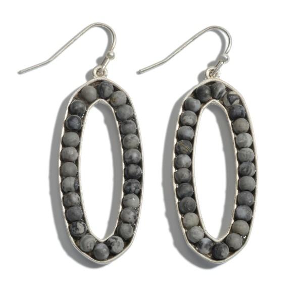 "Semi Precious Beaded Oval Drop Earrings.  - Approximately 2"" in Length"