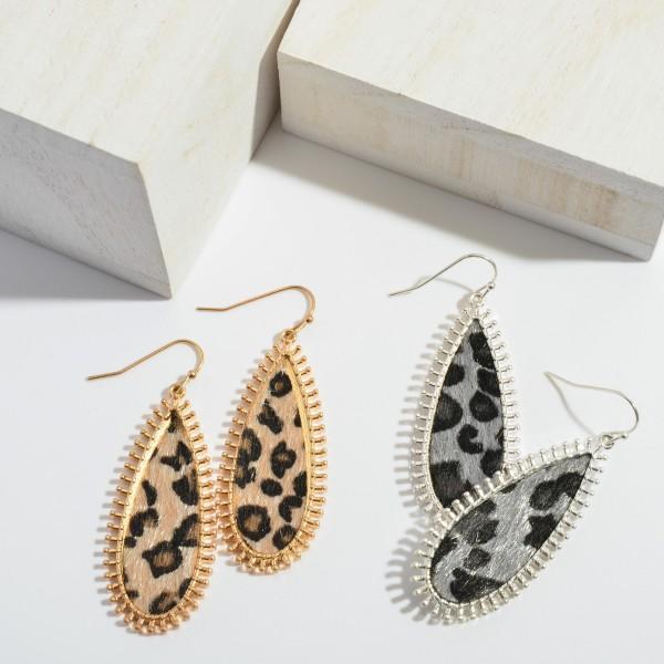 "Leopard Print Teardrop Earrings with Metal Trim.  - Approximately 2"" in Length"