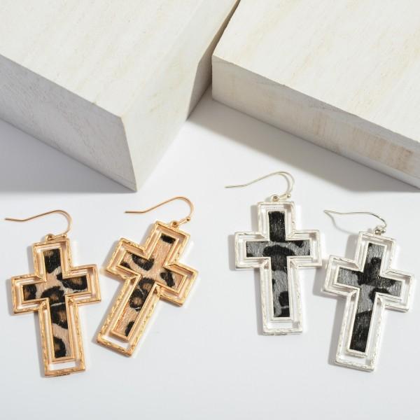 "Leopard Print Cross Drop Earrings with Metal Trim.  - Approximately 2"" in Length"