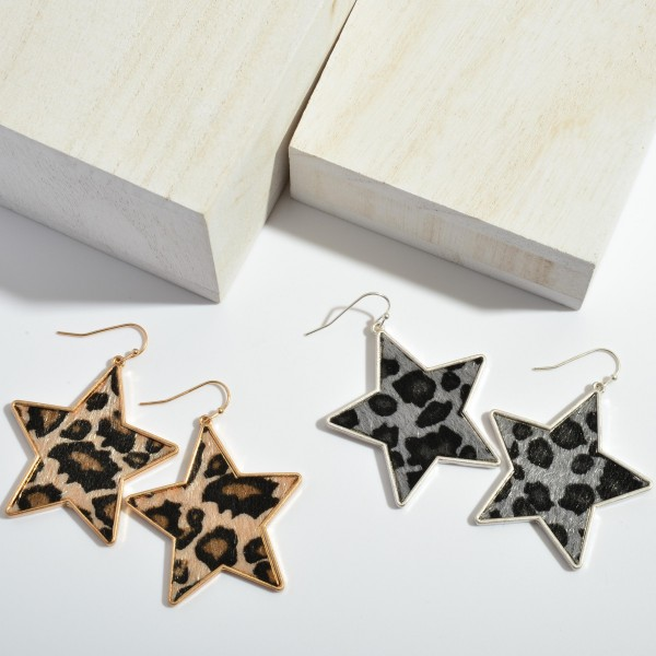 """Leopard Print Star Drop Earring with Metal Trim.  - Approximately 2"""" in Length"""