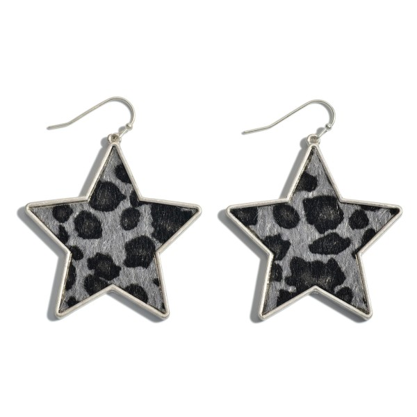 "Leopard Print Star Drop Earring with Metal Trim.  - Approximately 2"" in Length"