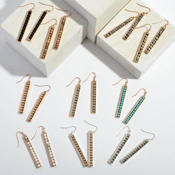 "Metal Beaded Bar Earrings.  - Approximately 2.25"" in Length"