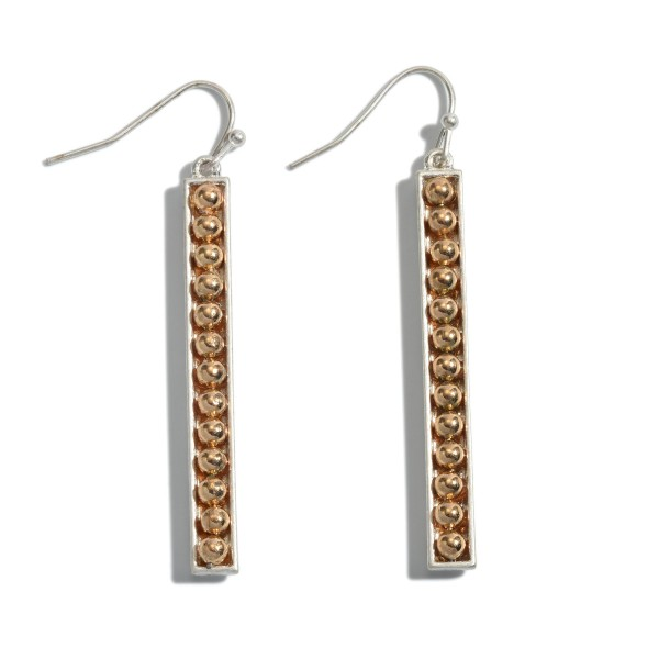 """Two Tone Metal Beaded Bar Earrings.  - Approximately 2.25"""" in Length"""