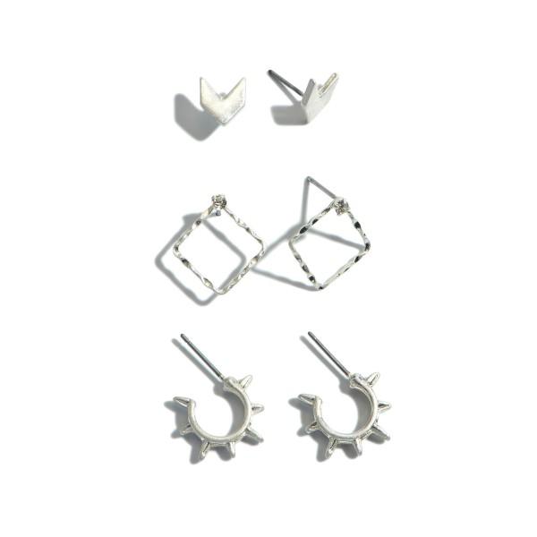 "3 PC Boho Decor Earring Set.  - 3 Pair Per Set  - 2 Stud Pair; 1 Hoop Pair - Approximately 5mm - .5"" in Size"