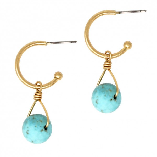 """Short Gold Hoop Earrings Featuring Wire Pendant with Natural Stone Accents.   - Approximately 1.5"""" Long"""
