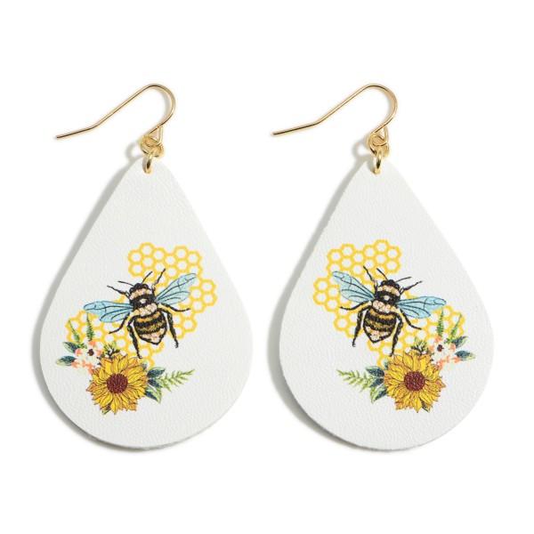 """Leather Teardrop Bumblebee Earrings.   - Approximately 2.5"""" Long"""