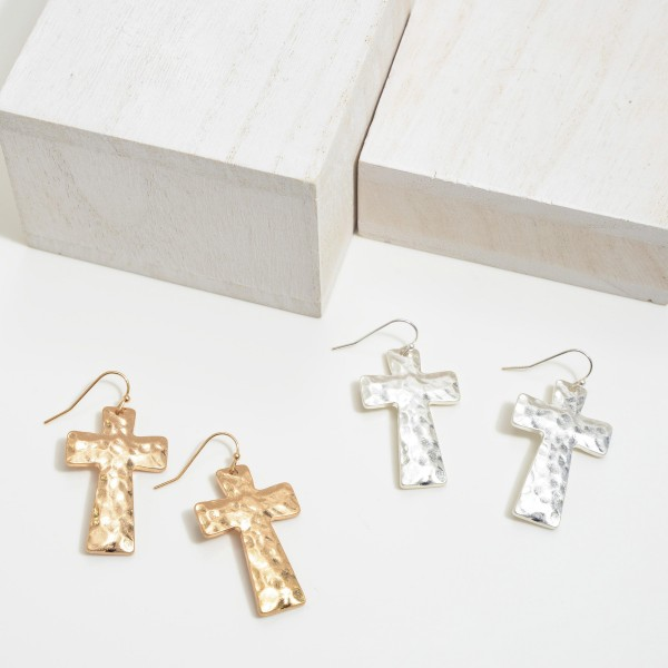 """Hammered Cross Drop Earrings.  - Approximately 1.5"""" in Length"""