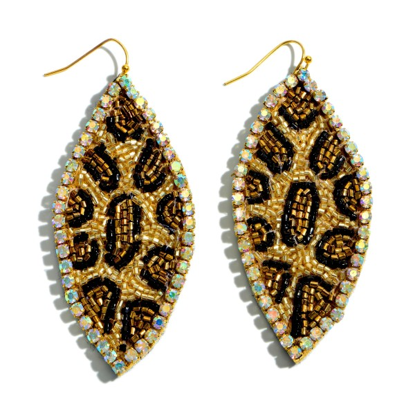 "Seed Beaded Rhinestone Leopard Print Pointed Drop Earrings.  - Approximately 3"" in Length"