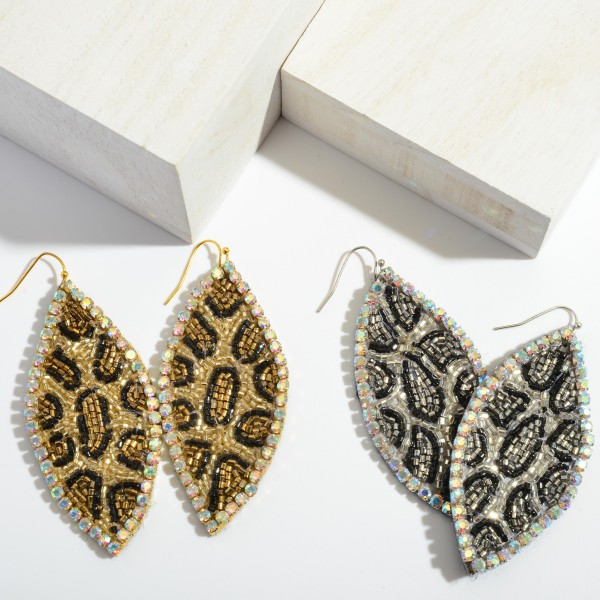 """Seed Beaded Rhinestone Leopard Print Pointed Drop Earrings.  - Approximately 3"""" in Length"""