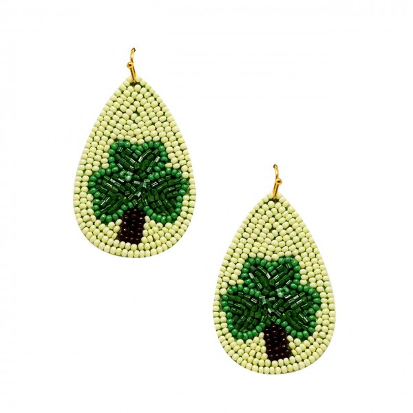 "St. Patrick's Day Themed Beaded Shamrock Earrings.   - Approximately 2.5"" in Length"