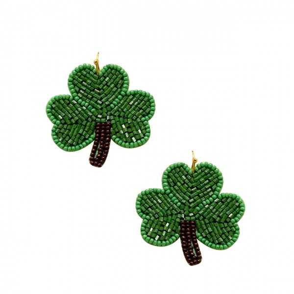 "St. Patrick's Day Themed Beaded Shamrock Earrings.   - Approximately 1.5"" in Length"