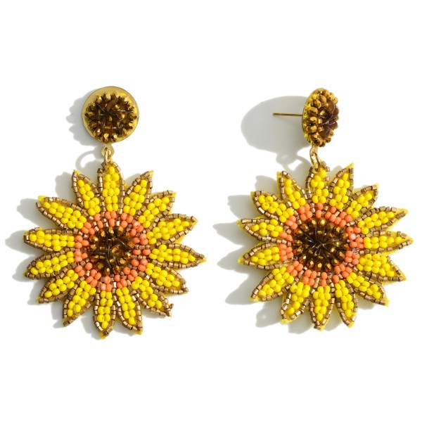 """Beaded Flower Earrings.   - Approximately 2"""" in Length  - Approximately 1.5"""" Wide"""