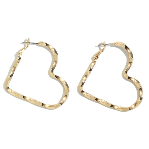 Twisted Textured Heart Hoop Earrings.  - Approximately 1.75""