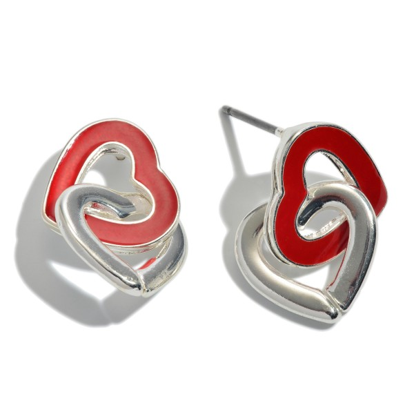 "Interlocked Epoxy Heart Stud Earrings.  - Approximately .5"" in Size"