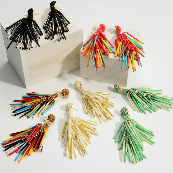 """Beaded Tassel Drop Earrings.   - Approximately 3"""" in Length"""