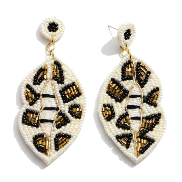 """Seed Beaded Leopard Print Felt Mouth Statement Drop Earrings.  - Approximately 3"""" in Length"""