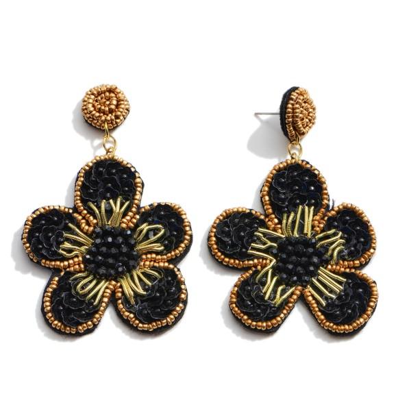 "Seed Beaded Felt Flower Statement Drop Earrings.  - Approximately 2.5"" in Length"
