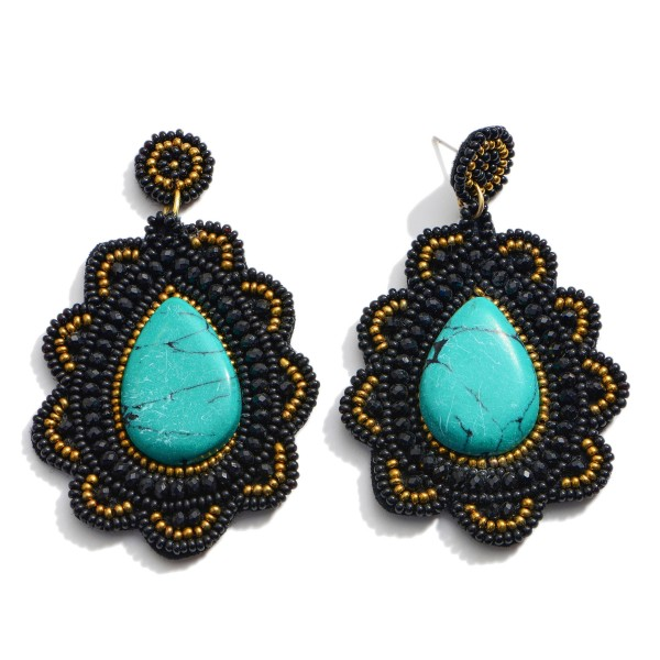 """Seed Beaded Natural Stone Felt Teardrop Statement Earrings.  - Approximately 3"""" in Length"""