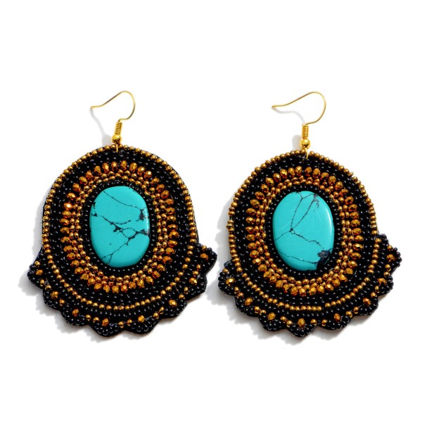 """Natural Stone Seed Beaded Felt Statement Drop Earrings.  - Approximately 2.75"""" in Length"""