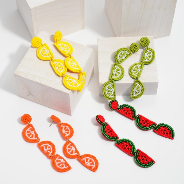 "Seed Beaded Fruit Felt Statement Drop Earrings.  - Approximately 4"" in Length"