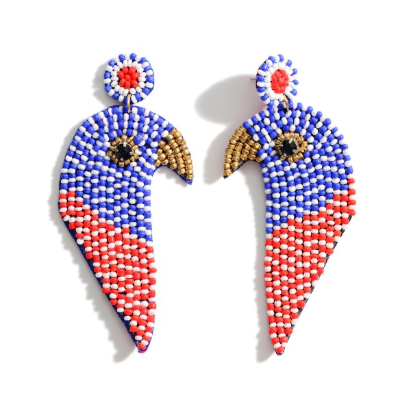 "Red, White, and Blue Beaded Eagle Earrings.   - Approximately 3.5"" in Length"