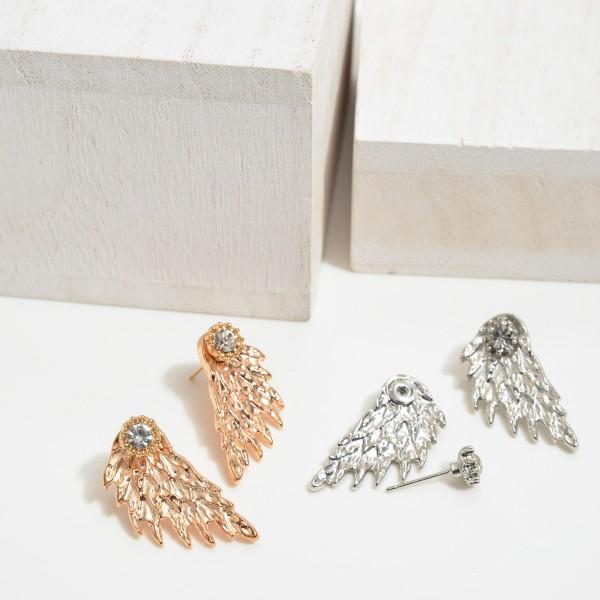 "Metal Rhinestone Wind Stud Earrings .  - Approximately 1"" in Length"