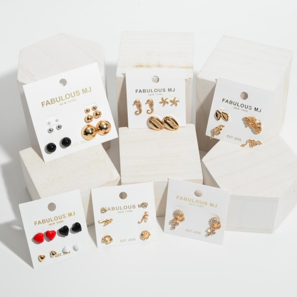 4 PC Coated Heart Stud Earring Set.  - 4 Pair Per Set - Approximately 5mm - 8mm in Diameter