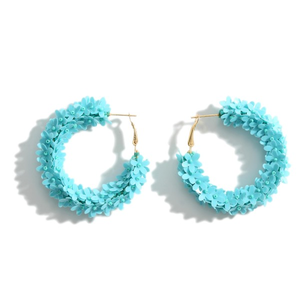 """Hoop Earrings Featuring Floral Accents.   - Approximately 2"""" in Diameter"""